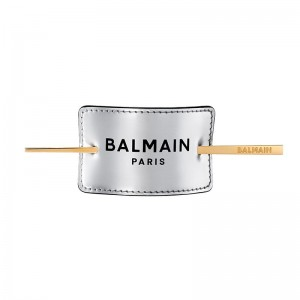 Skórzana spinka Balmain Hair srebrna, Limited Edition Hair Barrette FW19