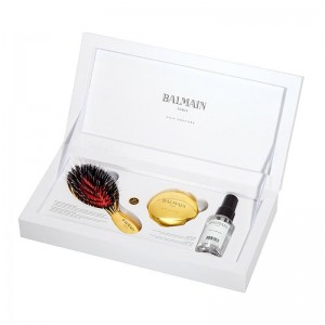 Zestaw Golden Spa Brush Mini, złota szczotka do włosów mini Balmain Hair + lusterko + Silk Perfume 50 ml