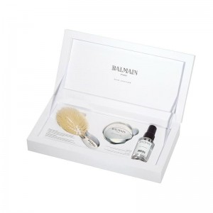 Zestaw Silver Spa Brush Mini, srebrna szczotka Balmain Hair mini + lusterko + Silk Perfume 50 ml